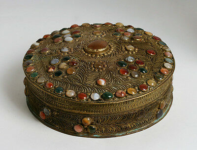 Old Filigree Brass Box with 90 Agate Cabochon Jewels - India - Mid 20th Century