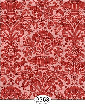 Miniature Dollhouse 1:12 Wallpaper Annabelle Reverse Damask Red 2358