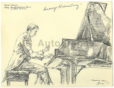 Rudolf Firkušný - Autographed Pen & Ink Illustration by Georges - 1971