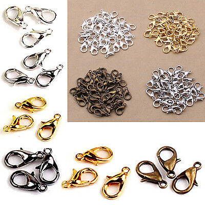 Nice 100PCS 12mm Silver Plated Lobster Clasps Claw Jewelry Fastener Hook Finding