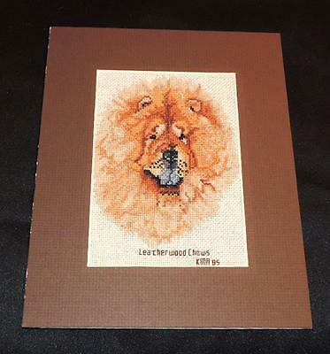 "Red Chow Chow Double Matted Vintage Cross Stitch 8"" x 10"""