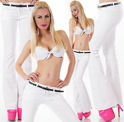Women's Flare White Denim Jeans + Belt - XS/S/M/L/XL