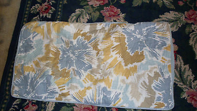 Pair of tan yellow and blue standard size pillowshams quilted abstract flowers