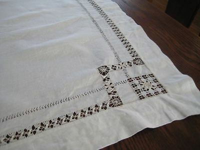 """35"""" Square Hand Made Tablecloth Reticella Italian String? Lace Pulled Work"""