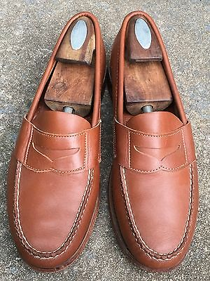 BROOKS BROTHERS Men's Burnished Tan Loafer Dress Shoes Size 9.5 D Made In USA