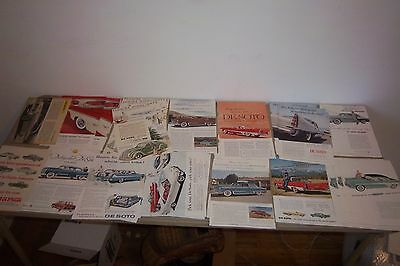 """Lot of 30 Vintage De Soto Car Ads 1950's From Magazines 7"""" by 10"""""""
