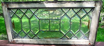ANTIQUE BEVELED LEADED GLASS TRANSOM WINDOW C 1910s