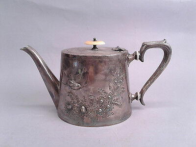 Victorian Aesthetic Tea Coffee Pot Repousse Etched Soaring Bird Silver Plate