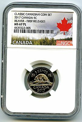 2017 Canada 5 Cent Classic Nickel Ngc Ms67 Pl First Releases Proof Like Rare