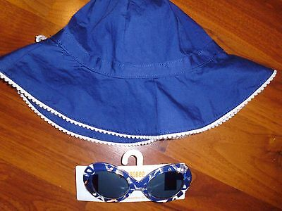 4 5 T Gymboree Navy Blue Sun Hat SUNGLASSES Toddler Girl New NWT