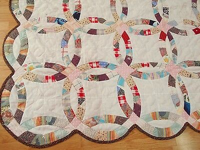 Vintage Antique DOUBLE WEDDING RING Hand Stitched & Quilted Queen Quilt 74x87