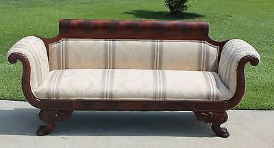 Grand American Empire Flamed Mahogany Sofa ~Paw Feet~ Acanthus Carvings c1840