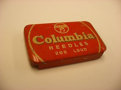 Phonograph Victrola Gramophone Needle Tin Columbia - 200  Needles Red - Empty