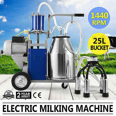 New Milker Electric Piston Milking Machine For Cows Bucket Farm Stainless Steel