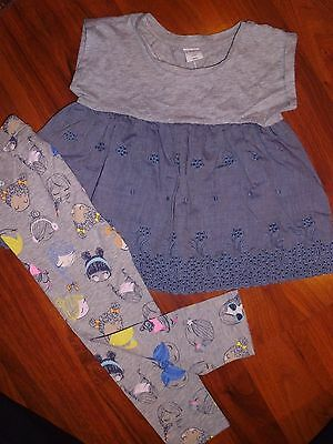 SZ 3 T BABY GAP 2pc Gray Chambray Swing Top Legging Outfit Toddler Girl KIDS NWT