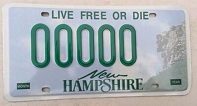 """New Hampshire Mint Sample License Plate """" 00000 """" Nh Live Free Or Die"""