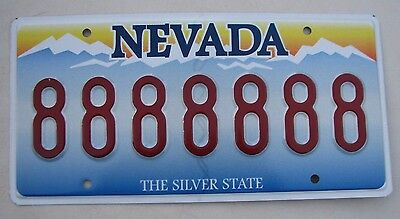 """NEVADA Vanity License Plate """" 888888 """" GOOD LUCK ASIAN  LUCKY CHINA CHINESE ASIA"""