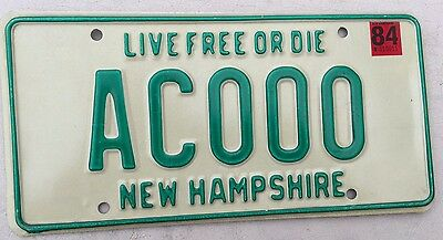 """1984 New Hampshire Mint Sample License Plate """" Ac 000 """" Nh 84  Live Free Or Die"""