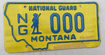 "Montana Sample License Plate "" Ng  000 "" Mt Army Air Force National Guard"