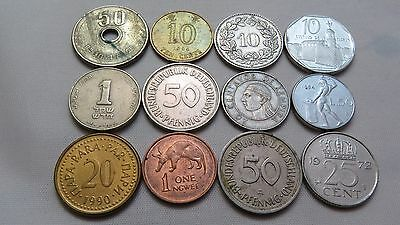 Twelve Assorted Small Foreign Coins Lot Cf8