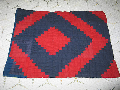 Charming Antique Hand Pieced~Doll~Quilt c1900s LOG CABIN- Primitive-Reversible