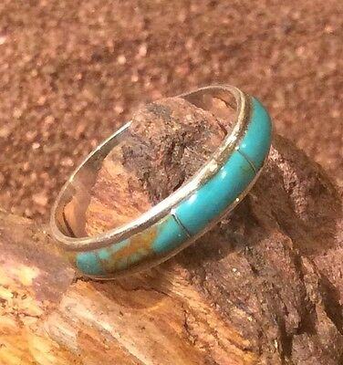 Native American Wedding Band Ceremony Sterling Silver Turquoise Inlay Size 10