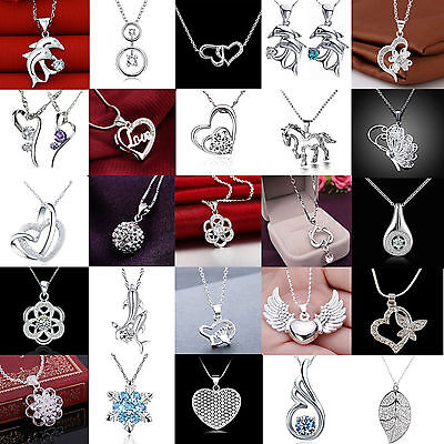 Women Fashion Cheap 925 Silver Crystal Heart Pendant Necklace Chain Jewelry CHIC
