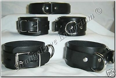 Lockable Black Leather Wrist and Ankle Cuffs and Collar Full 5pc set Made in USA
