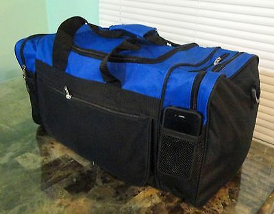 """20"""" Sports Carry On Travel Duffle Gym Bag Black BLUE with Adjustable Strap NEW."""