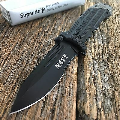"""8.25"""" NAVY Spring Assisted Open Pocket Knife Military Style Combat Bowie -TH"""