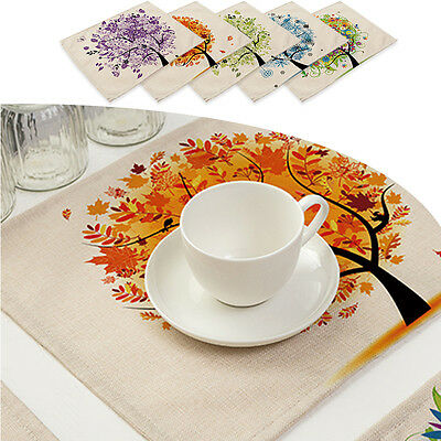 Amazing Mat Tree of Life Patterns Placemat Printing Cotton Linen Placemat 42X32