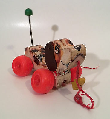 Vintage 1965 Wooden Fisher Price Pull Toy Dog - Snoopy USA with Shoe Makes Noise