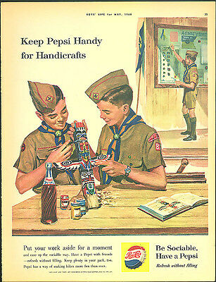 Keep Pepsi Handy for Handicrafts ad 1960 Boy Scouts