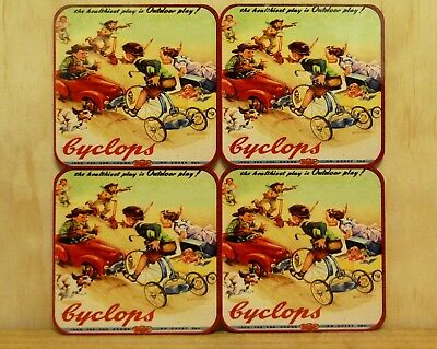Drink Coaster Set Of 4 - Cyclops - The Healthiest Play Is Outdoor Play!