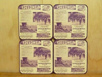 Drink Coaster Set Of 4 - Speedwell Bicycles - Old Advert