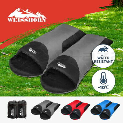 WEISSHORN Camping Envelope Sleeping Bag Double Single Thermal Tent Hiking Winter