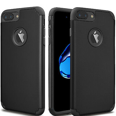 For iPhone 7 6S Plus 5/SE Black Case Hybrid Rugged Rubber Shockproof Cover