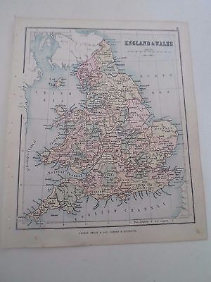 Antique Map 1890 ~ ENGLAND & WALES - From Philips Atlas For Beginners  §4