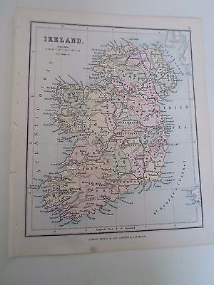 Antique Map 1890 ~ IRELAND - From Philips Atlas For Beginners  §6