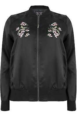 Womens Satin Bomber Jacket With Mirror Floral Embroidery, Plus Size 16 To 36