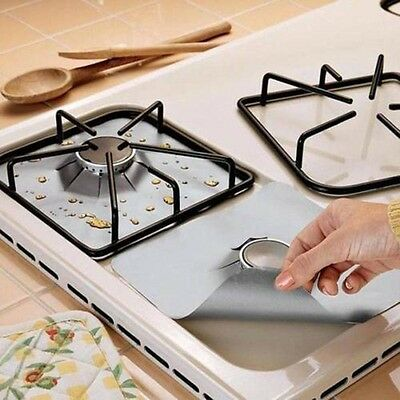 4Pcs Burner Cover Stove Gas Protection Mat Pad Clean Liner Furnace Protector