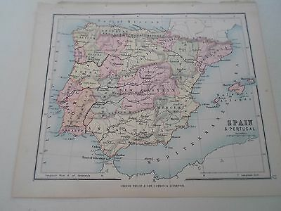 Antique Map 1890 SPAIN AND PORTUGAL - From Philips Atlas For Beginners  §17