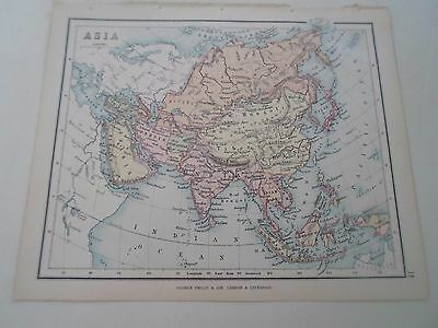 Antique Map 1890 ASIA - From Philips Atlas For Beginners  §18