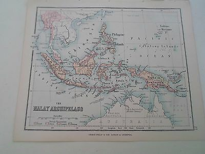 Antique Map 1890 THE MALAY ARCHIPELAGO - From Philips Atlas For Beginners  §22