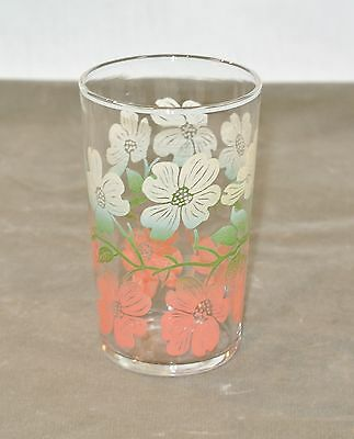 Vintage SWANKY SWIG Pink and White DOGWOOD Flowers Glass Tumbler 3 5/8 inches