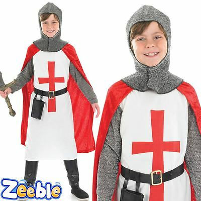 Boys Knight Costume Crusader Book Week Kids Medieval Fancy Dress Outfit Age 4-12
