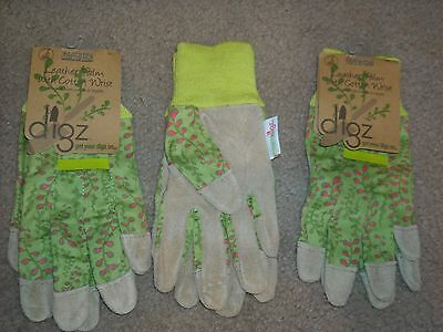 a74b4844b Lot of 3 Pairs DIGZ Leather Palm Women's Work Garden Gloves NEW SMALL
