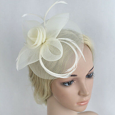 Women Girls Feather Mesh Hair Clip Accessory Wedding Party Fascinator Hat Races