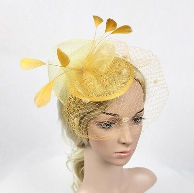 Vintage Women Wedding Party Feather Mesh Fascinator Hat Hair Clip Accessories