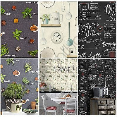 Rasch Kitchen Inspired Wallpaper Coffee Shop Kitchen Utensils Herbs Spices New